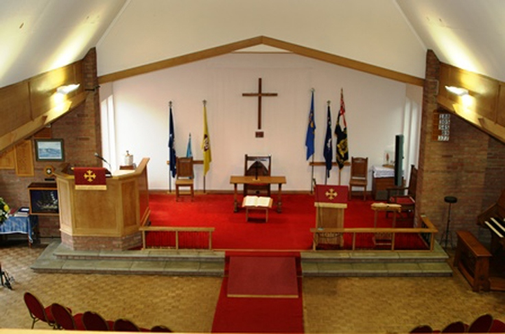 The inside of the church, looking towards the pulpit (bird's eye)